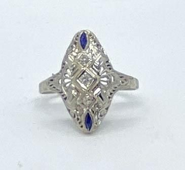 Art Deco Diamond & Sapphire Ring 14k Size 8