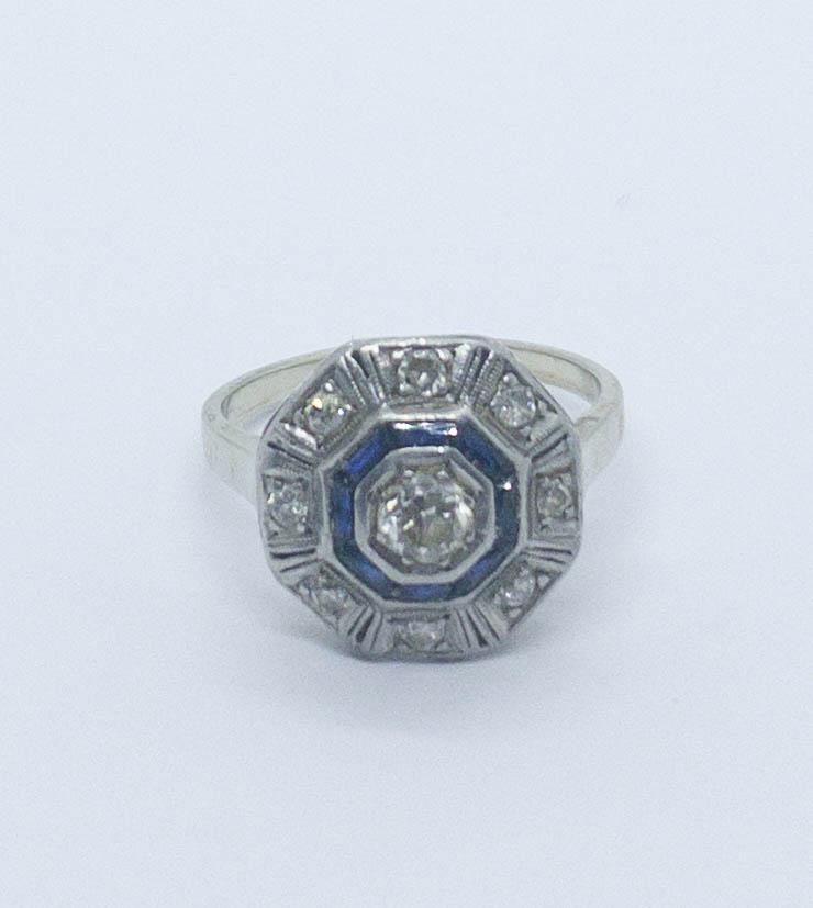 Art Deco Diamond & Sapphire Ring 14k White Gold