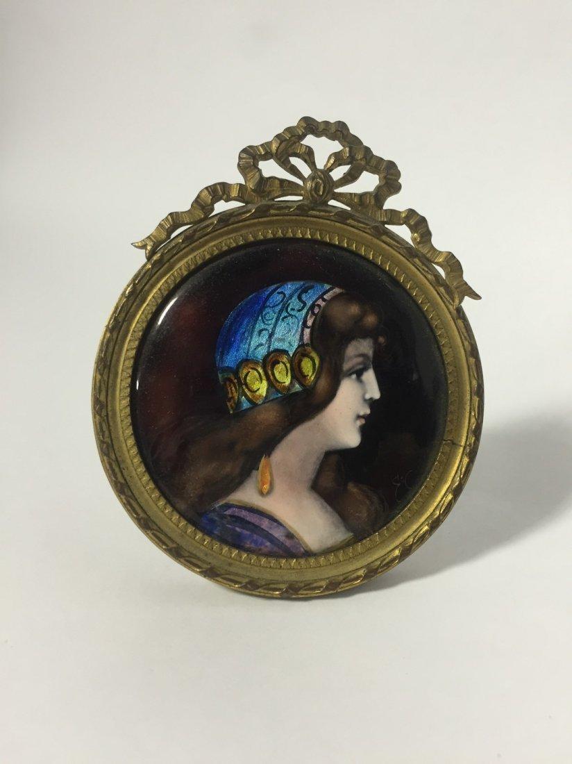 Framed Miniature Enamel Portrait of Renaissance Woman