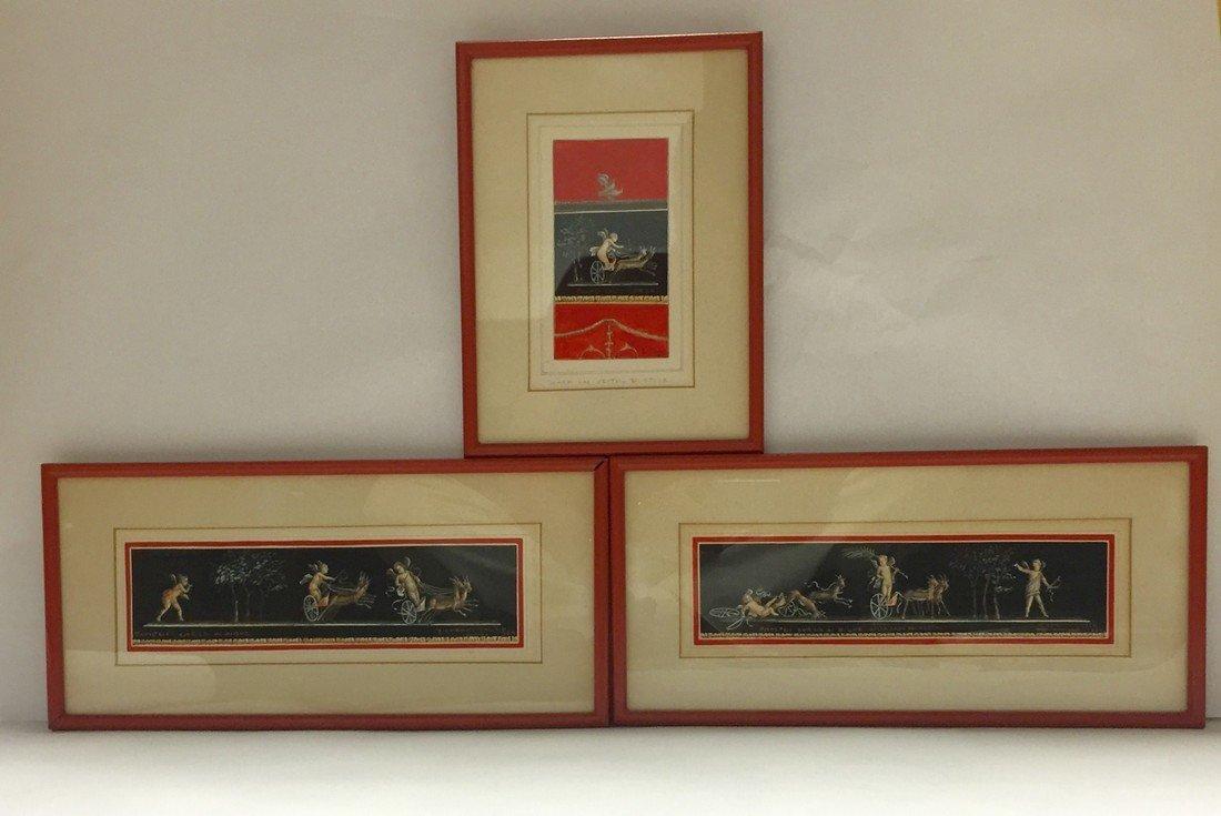 Giovanni Gallo Neoclassical Watercolors Set of 3