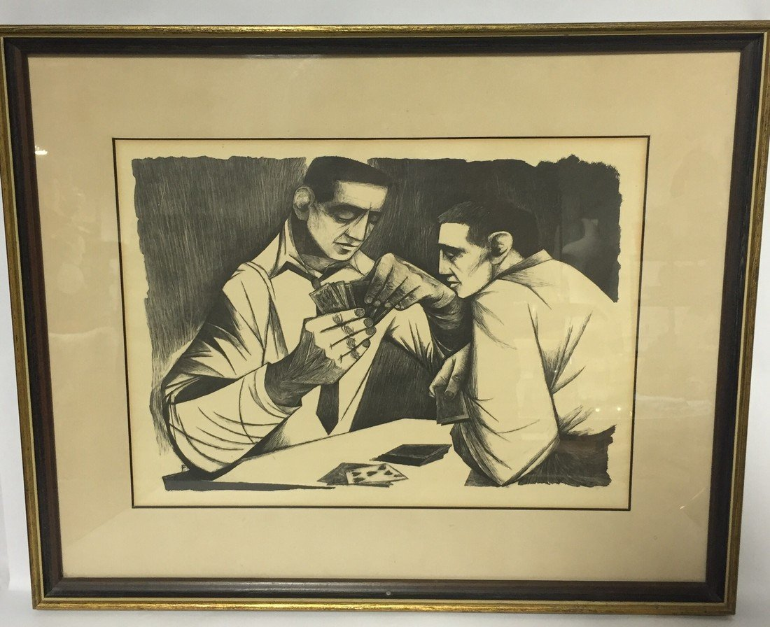 1940's Pair of 2 Poker Player Lithographs