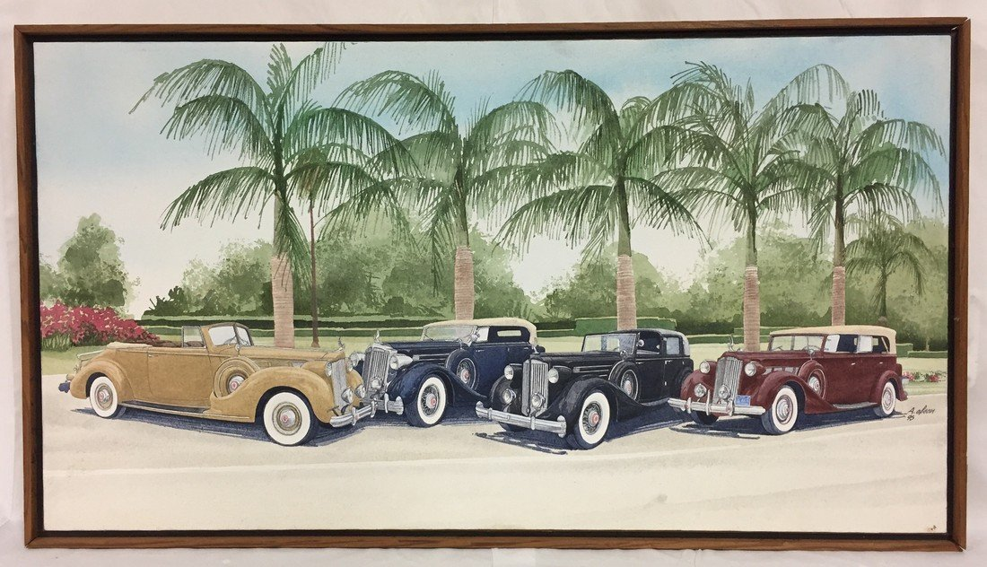 Arlen Olson Antique Car Show Painting