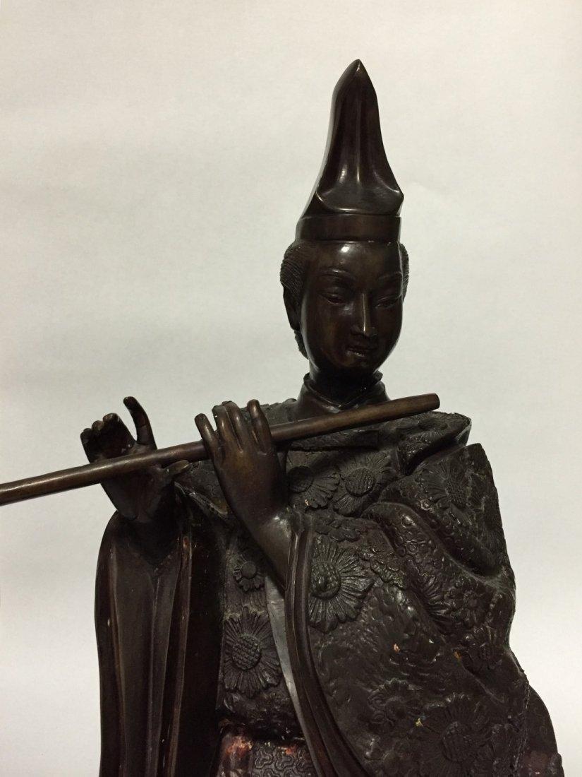 Large Geisha Playing Flute Bronze