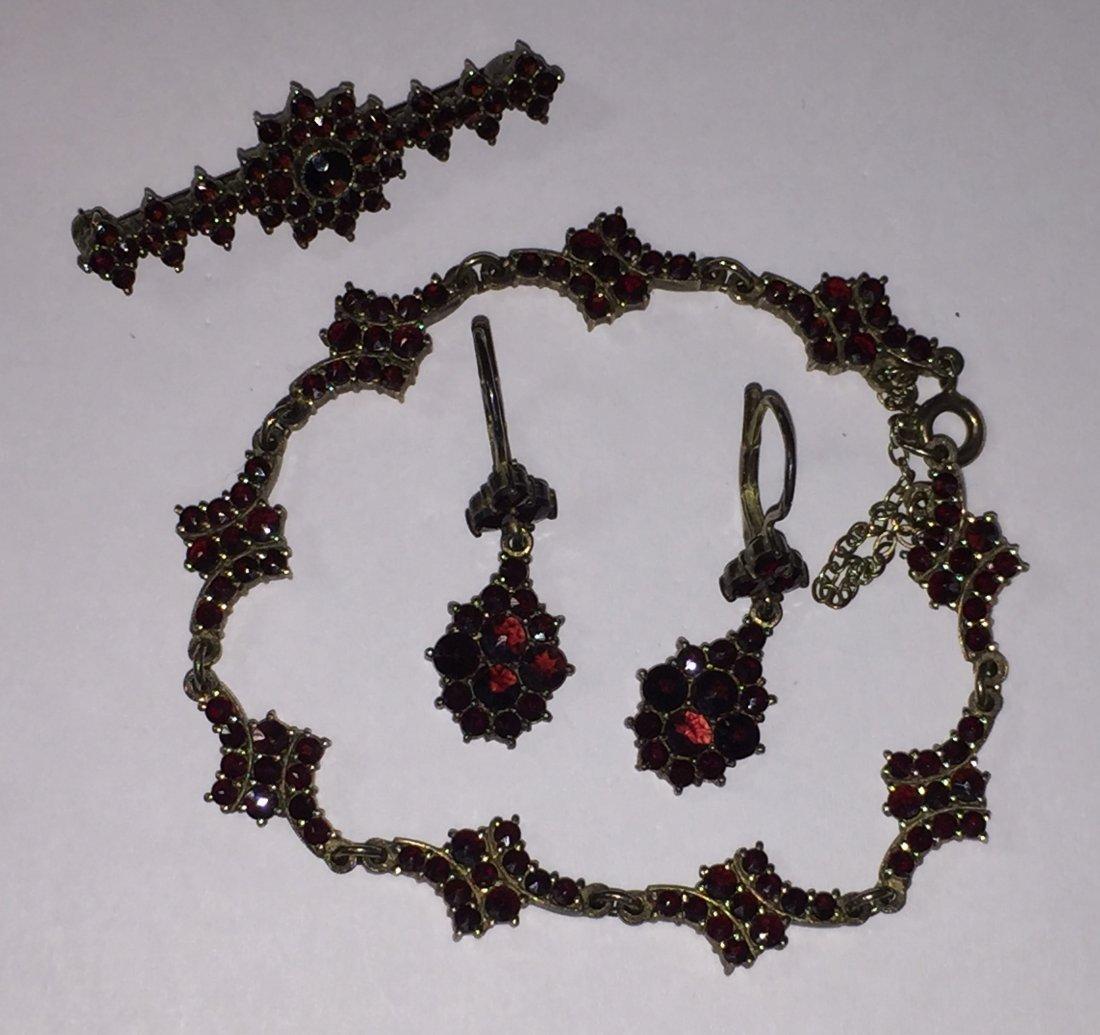 Rose Cut Bohemian Garnet Jewelry Suite