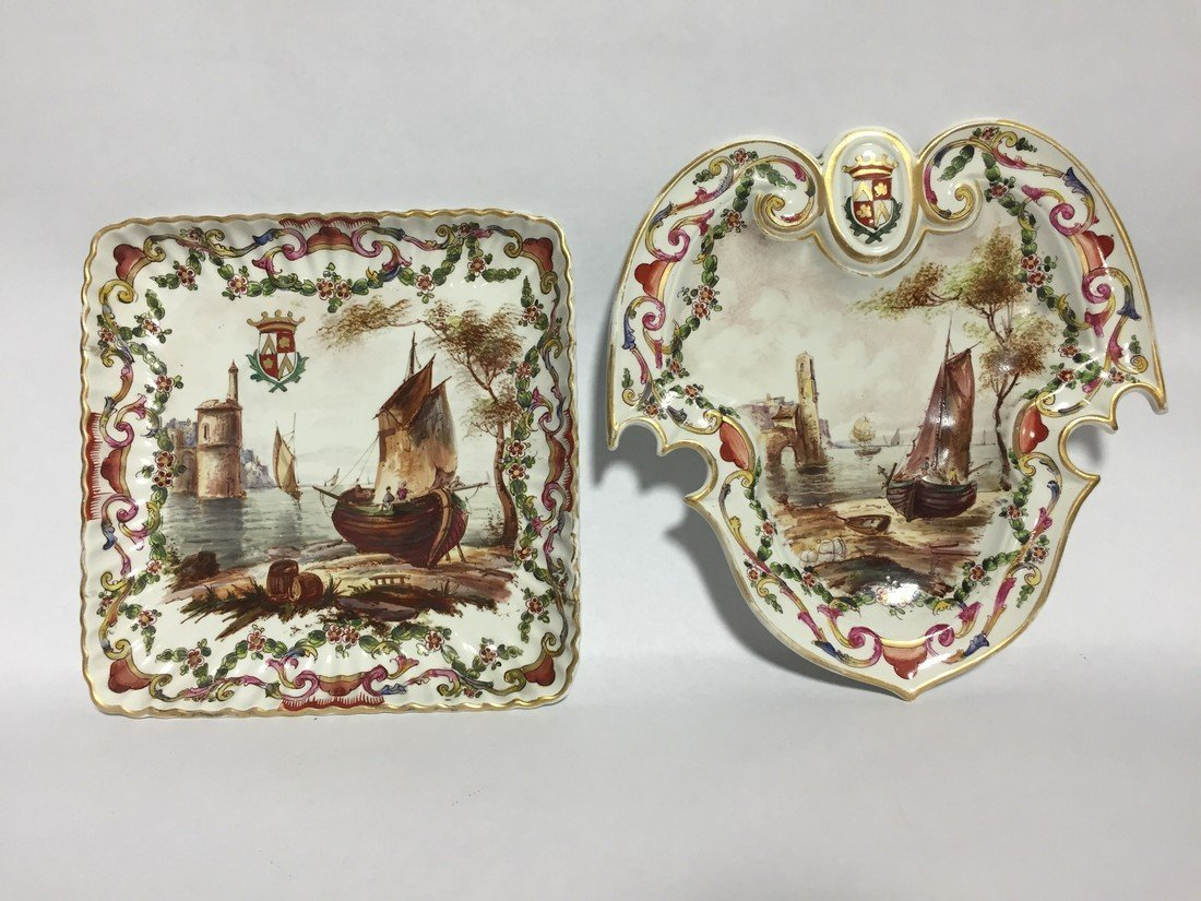 Lille 1767 Hand Painted Harbor Scene Bowl & Plate