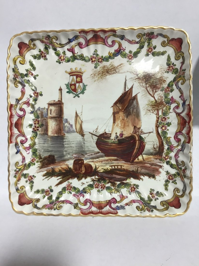 Lille 1767 Hand Painted Harbor Scene Bowl & Plate - 2