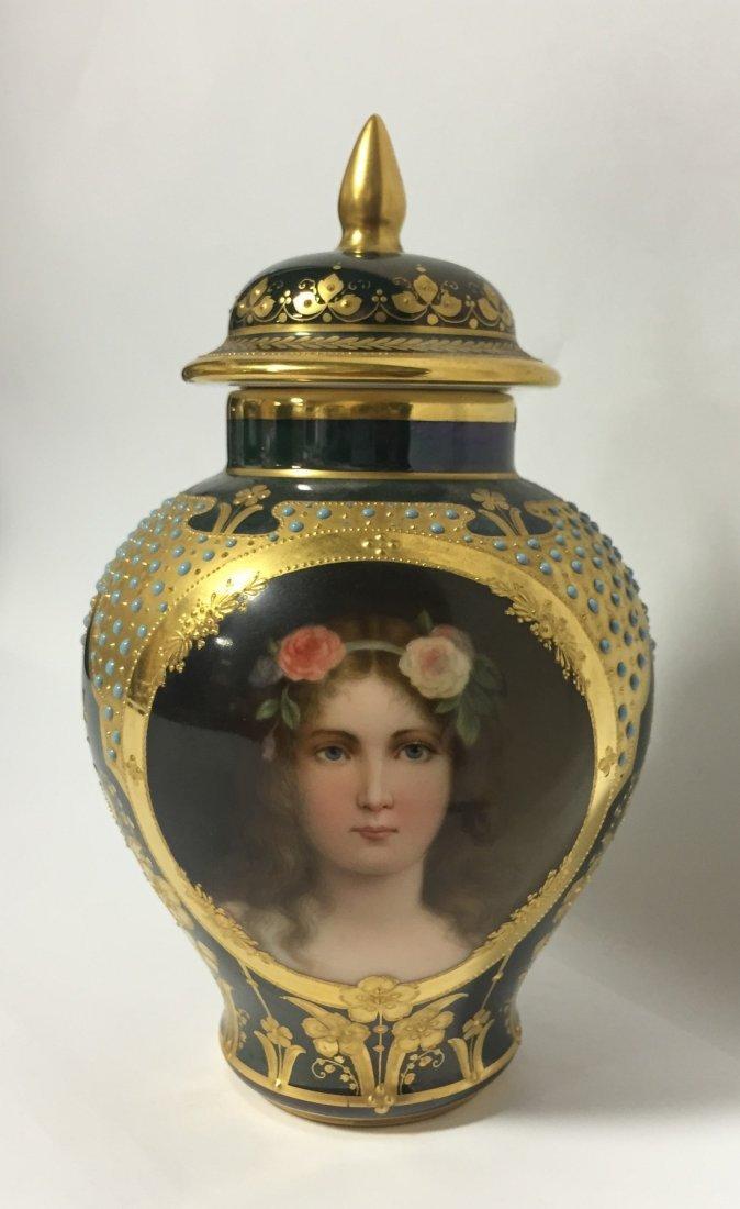 Austian Porcelain Portrait Jar