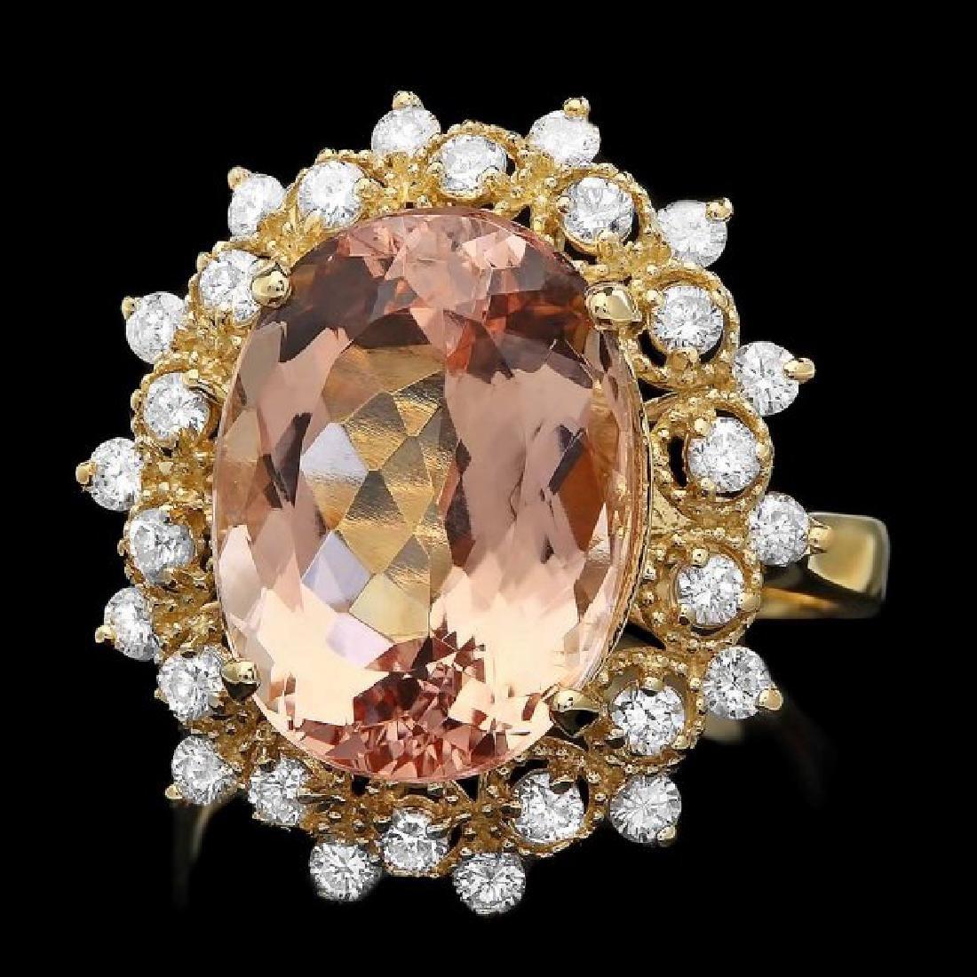 14k Gold 7.80ct Morganite 0.80ct Diamond Ring