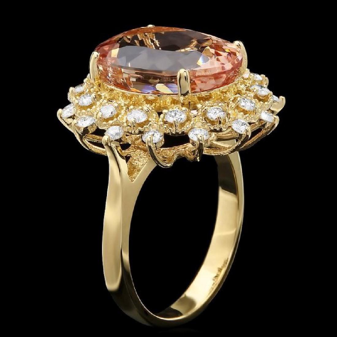 14k Gold 7.80ct Morganite 0.80ct Diamond Ring - 2