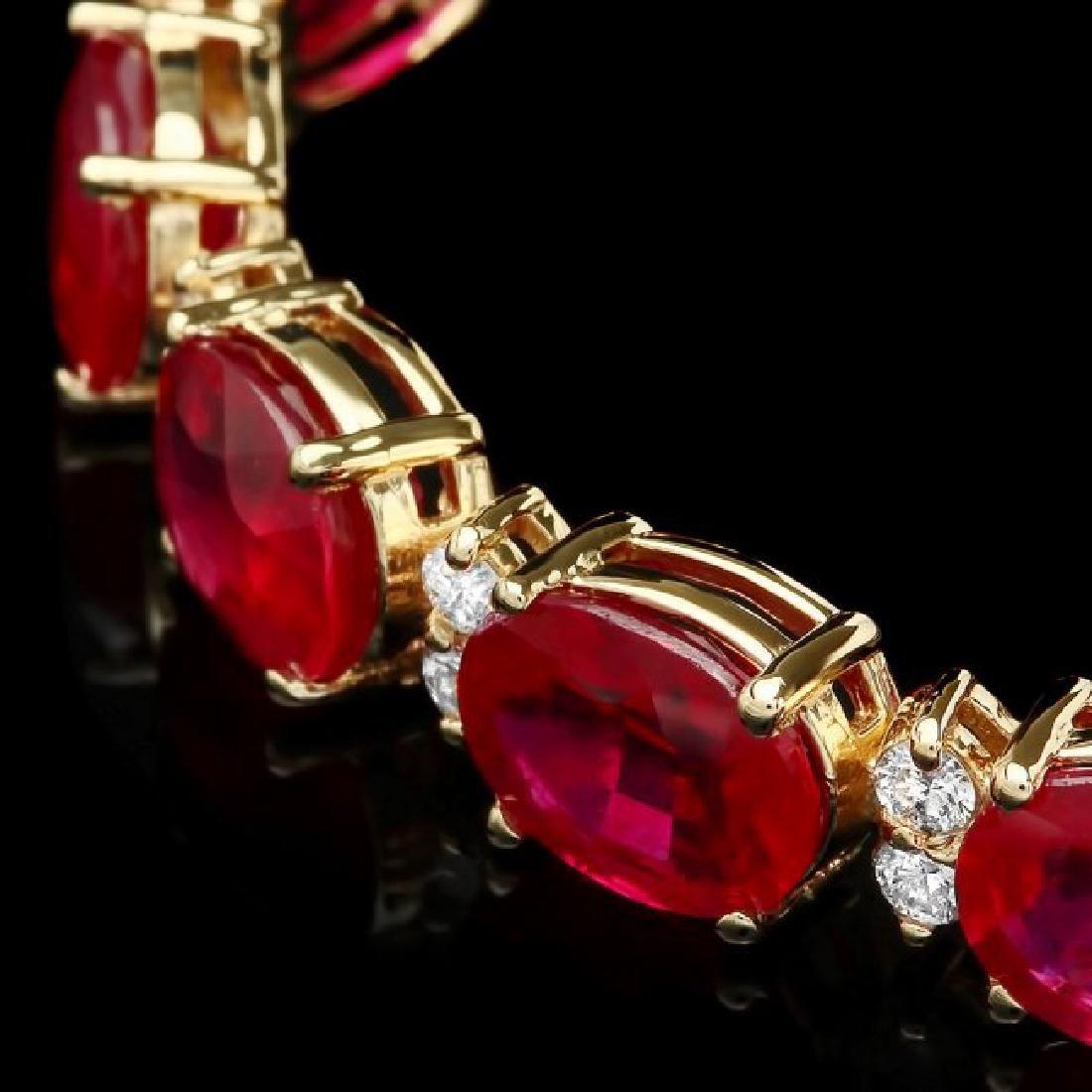 14k Gold 36.23ct Ruby 1.50ct Diamond Bracelet - 2