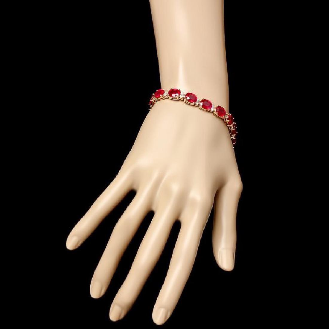 14k Gold 36.23ct Ruby 1.50ct Diamond Bracelet - 5