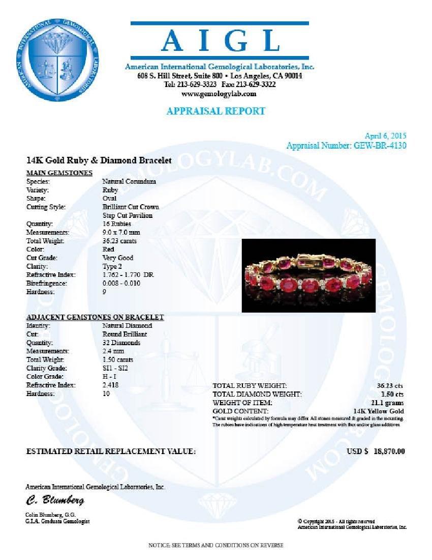 14k Gold 36.23ct Ruby 1.50ct Diamond Bracelet - 7