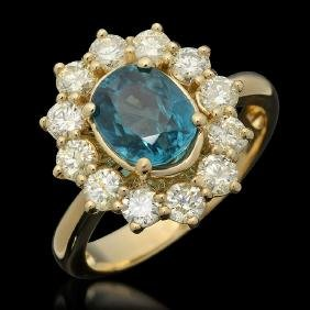 14k Gold 2.76ct Zircon 1.25ct Diamond Ring