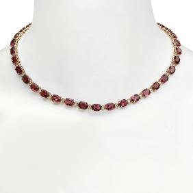 14K Gold 44.66ct Tourmaline 1.93ct Diamond Necklace