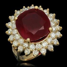 14K Gold 14.38ct Ruby 2.38ct Diamond Ring