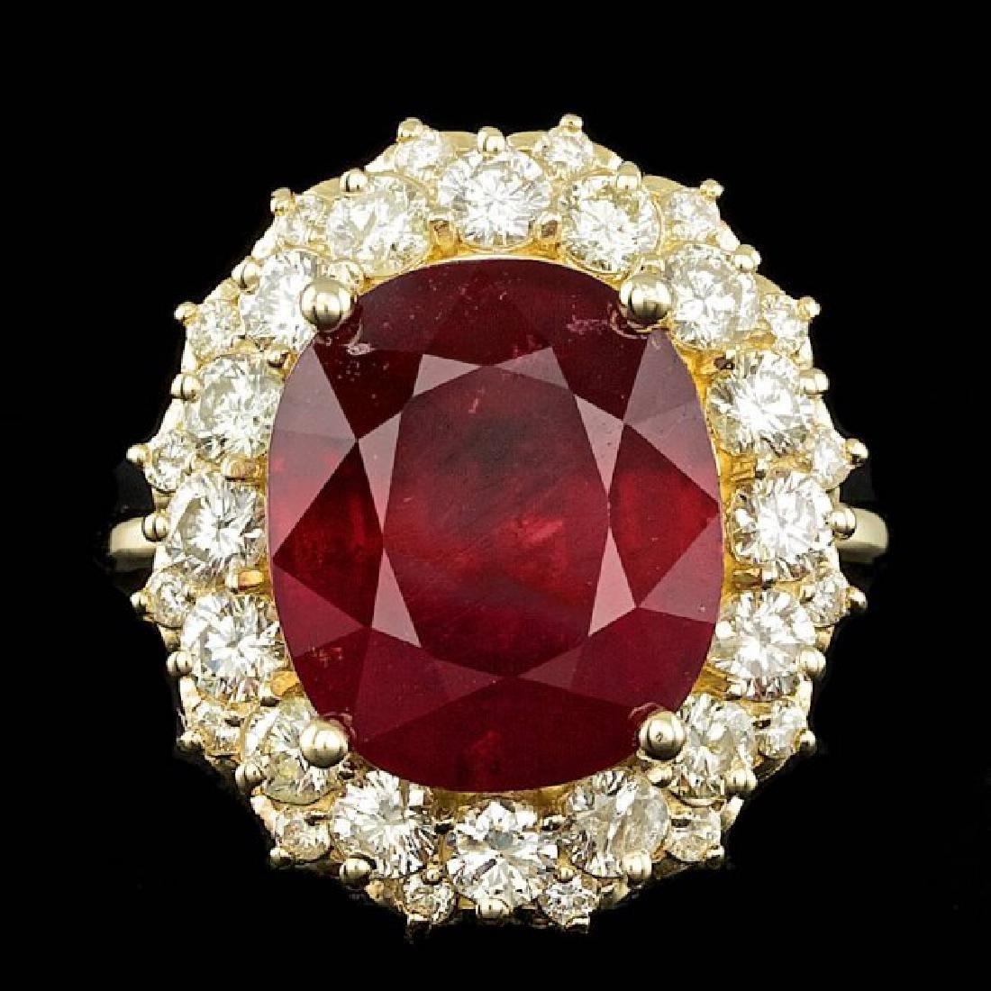 14k Yellow Gold 11.50ct Ruby 1.65ct Diamond Ring