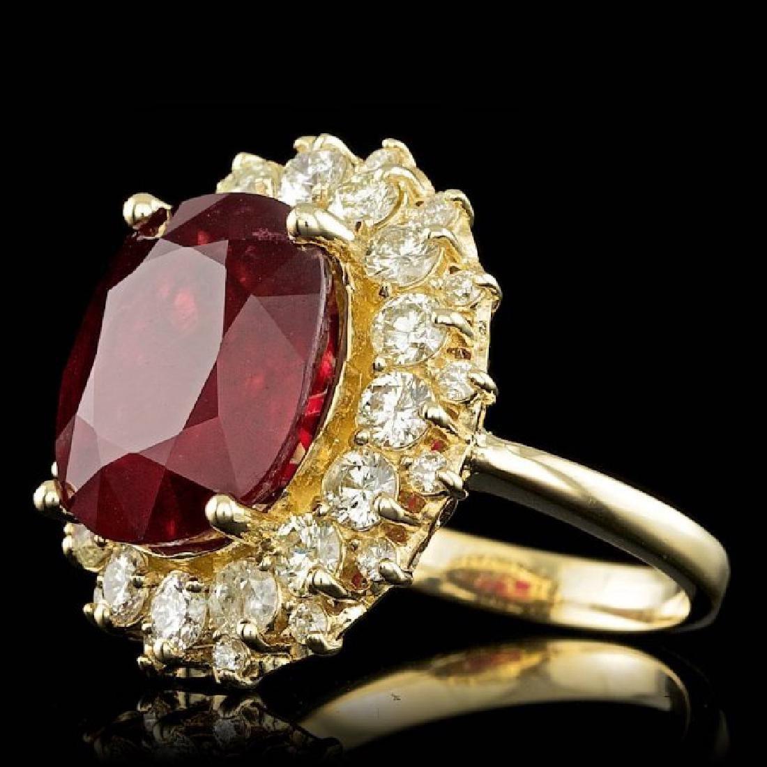 14k Yellow Gold 11.50ct Ruby 1.65ct Diamond Ring - 2