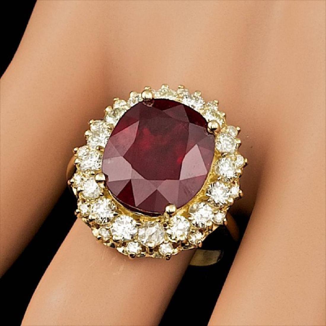 14k Yellow Gold 11.50ct Ruby 1.65ct Diamond Ring - 3