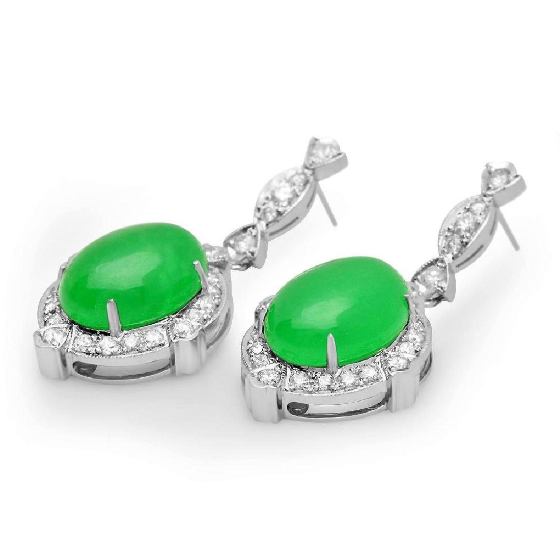 14K Gold 17.86ct Jadeite 1.92cts Diamond Earrings