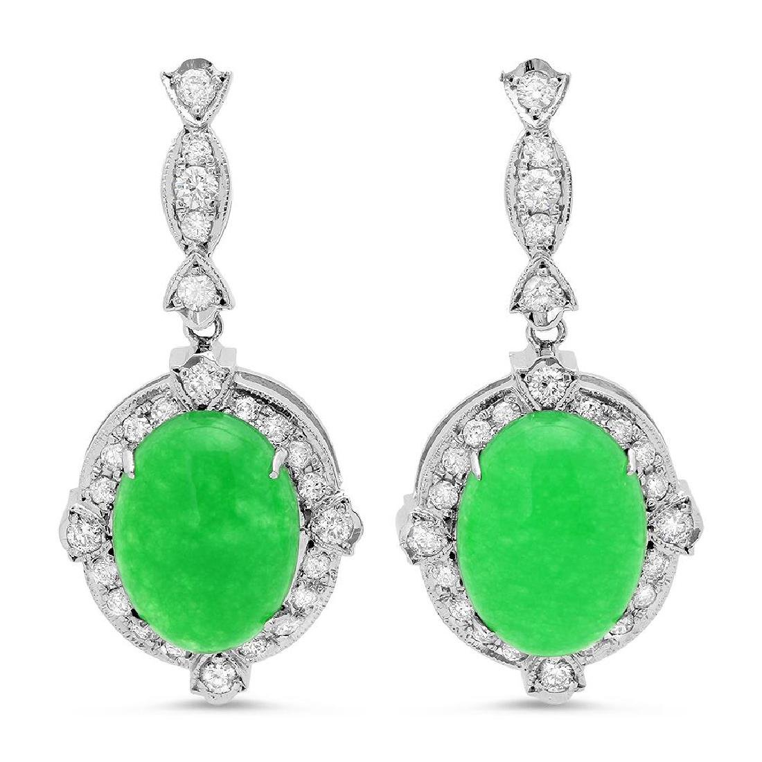 14K Gold 17.86ct Jadeite 1.92cts Diamond Earrings - 2