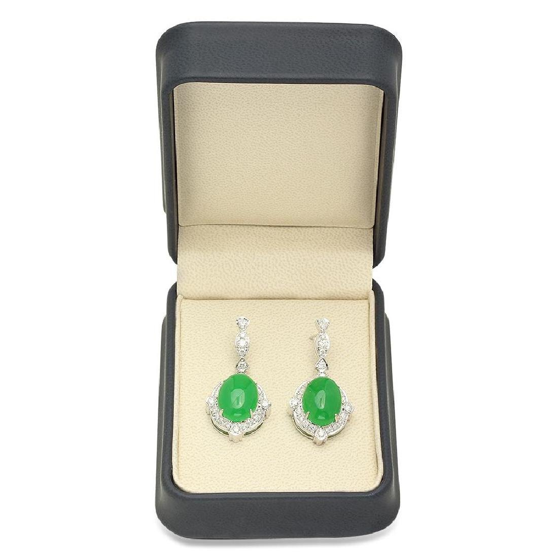 14K Gold 17.86ct Jadeite 1.92cts Diamond Earrings - 3
