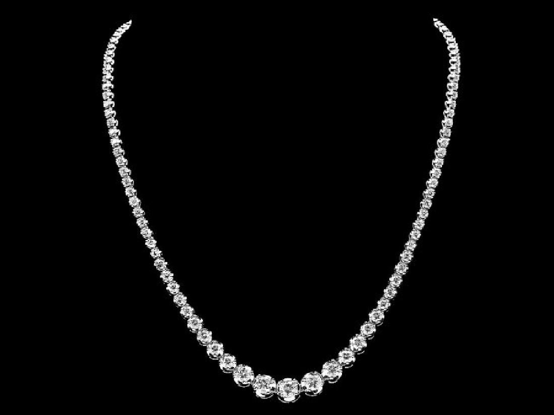 18k White Gold 11.60ct Diamond Necklace - 2