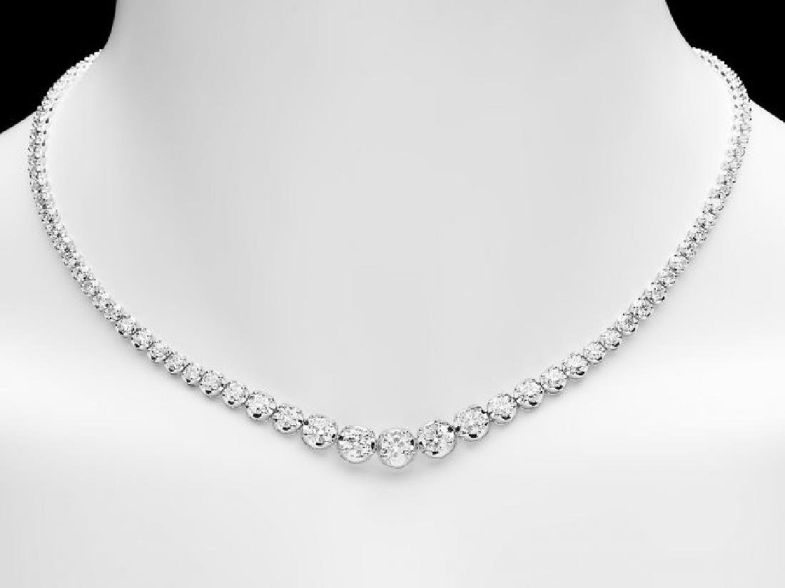 18k White Gold 11.60ct Diamond Necklace - 5