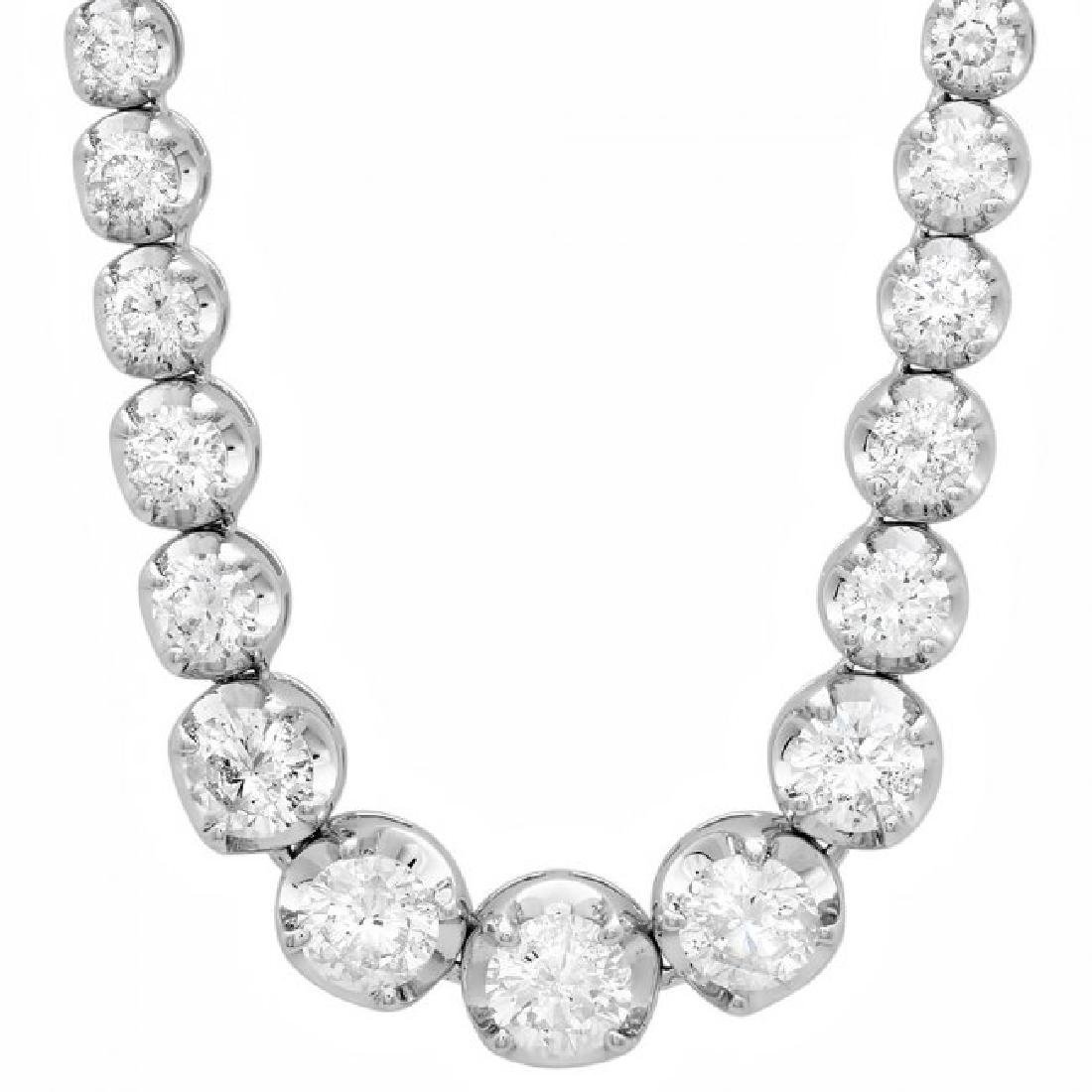 18k White Gold 11.60ct Diamond Necklace - 6