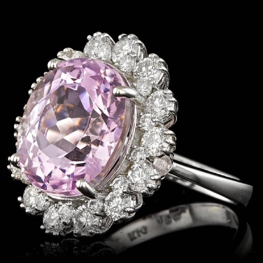 14k Gold 10.00ct Kunzite 1.70ct Diamond Ring - 2