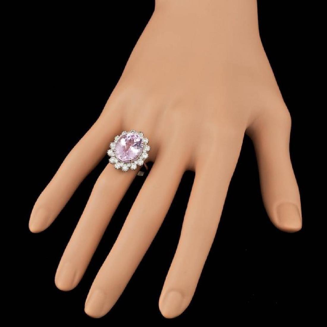 14k Gold 10.00ct Kunzite 1.70ct Diamond Ring - 4