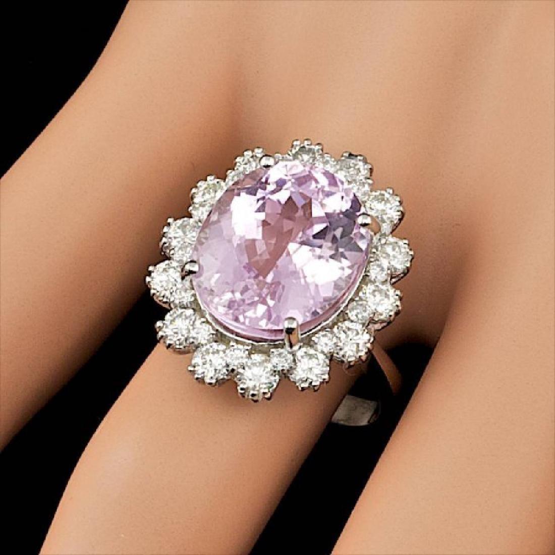 14k Gold 10.00ct Kunzite 1.70ct Diamond Ring - 5