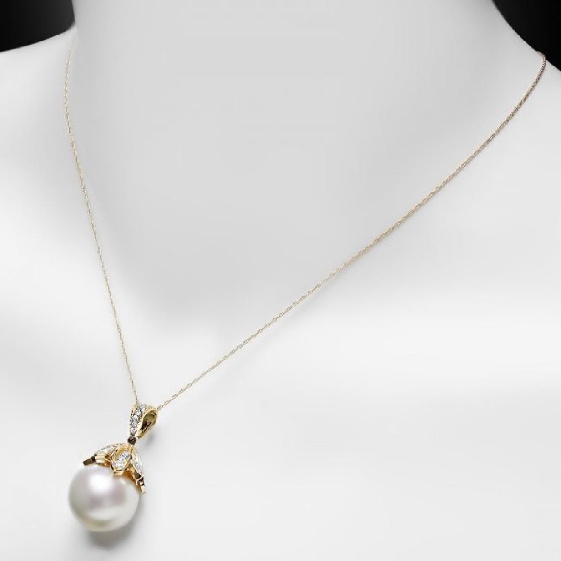 14k Yellow Gold 17mm Pearl 1.20ct Diamond Pendant - 4
