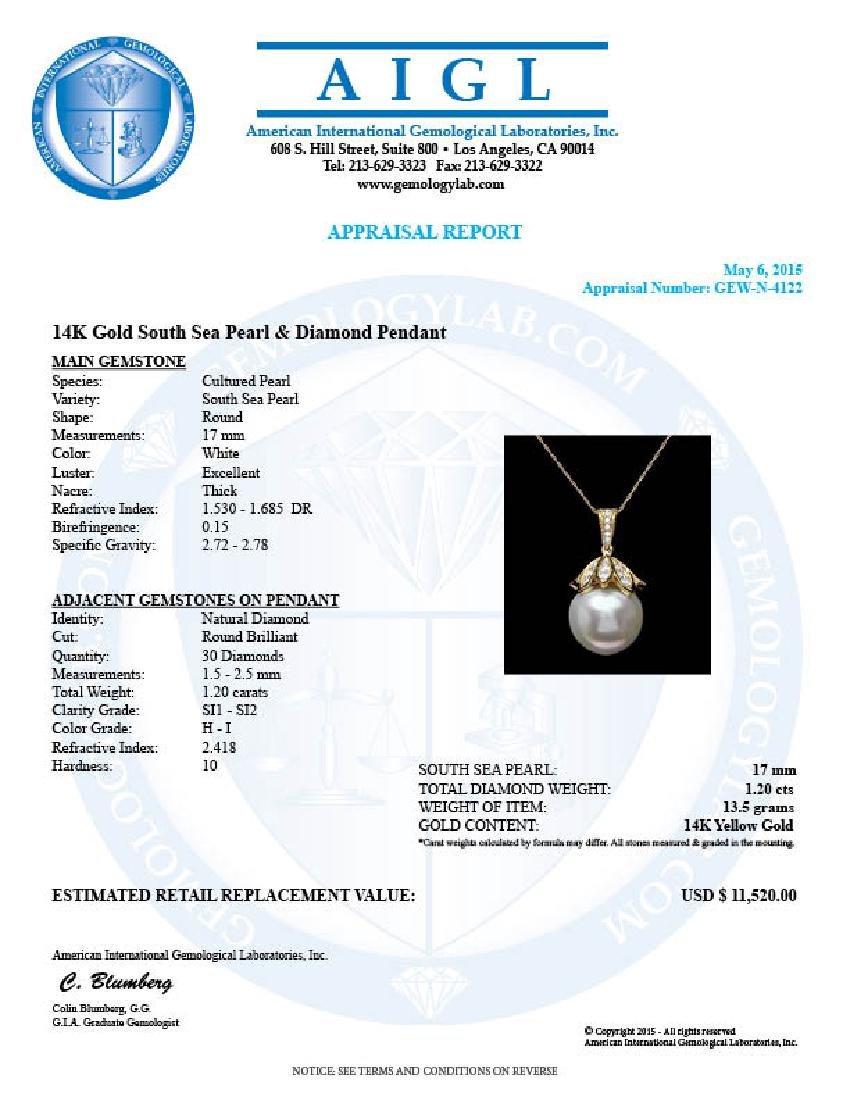 14k Yellow Gold 17mm Pearl 1.20ct Diamond Pendant - 5