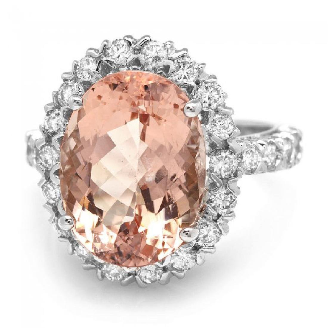 14k Gold 7.25ct Morganite 1.20ct Diamond Ring - 3