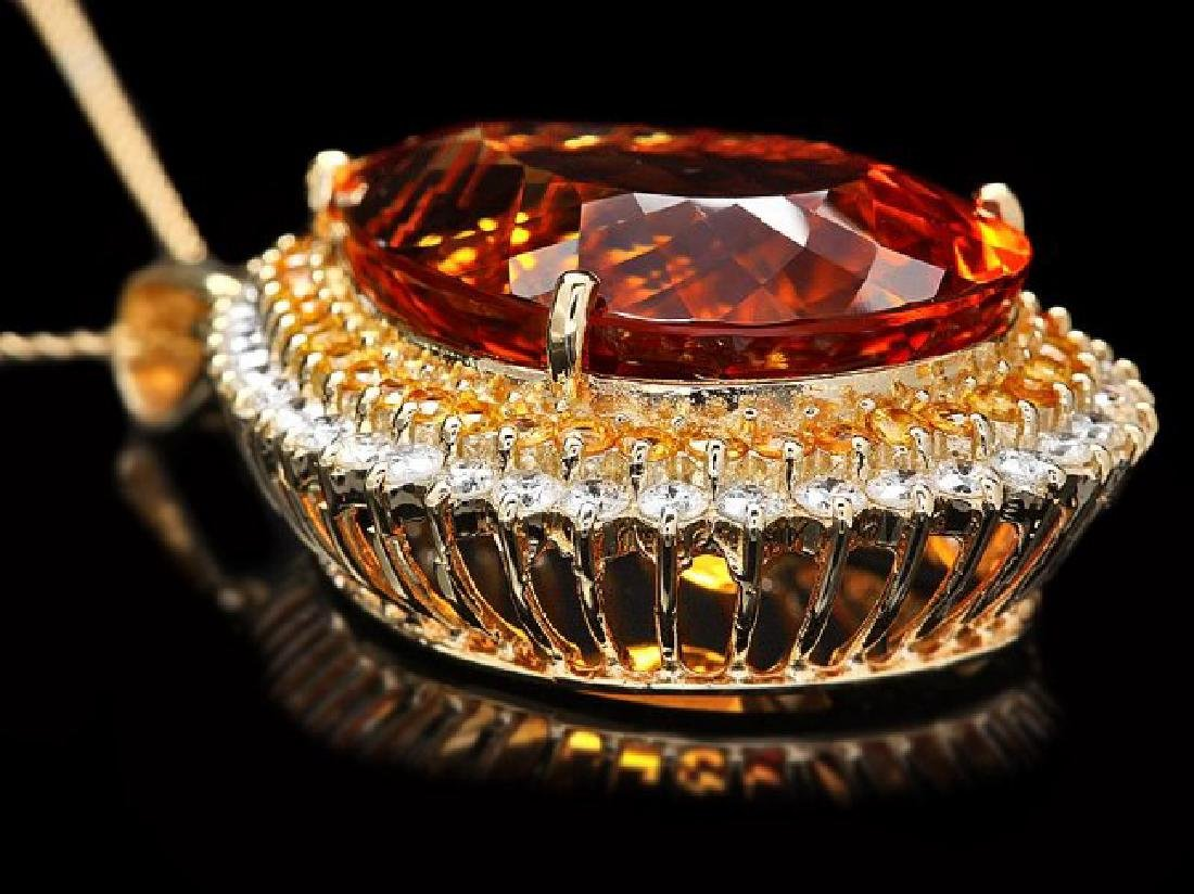 14k Gold 37ct Citrine 1.85ct Diamond Pendant - 4