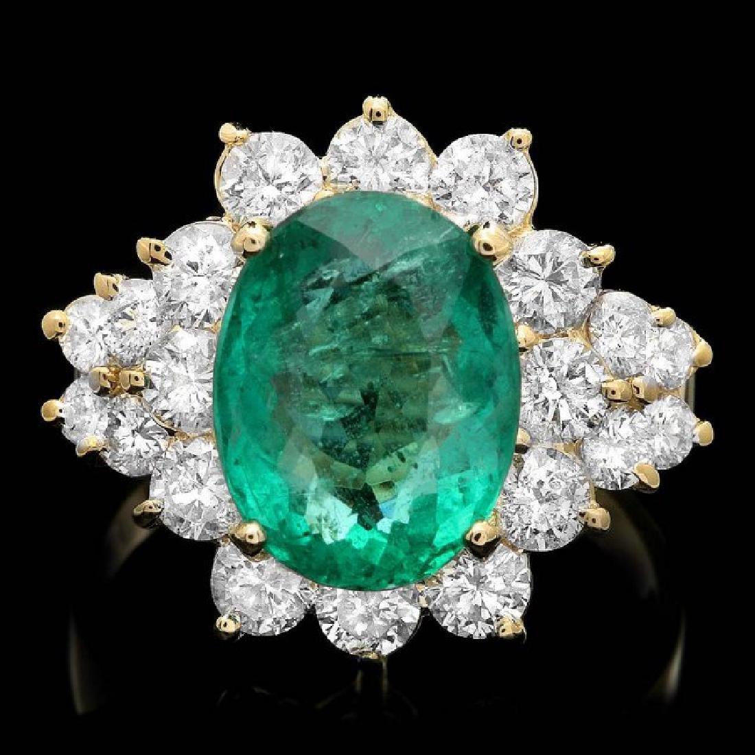 14k Gold 4.00ct Emerald 1.75ct Diamond Ring