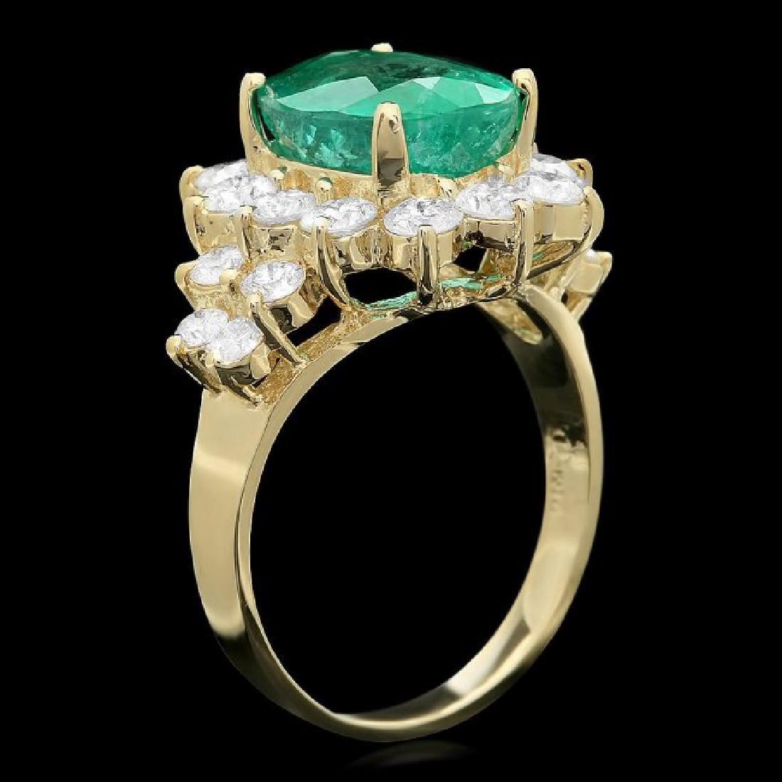 14k Gold 4.00ct Emerald 1.75ct Diamond Ring - 2