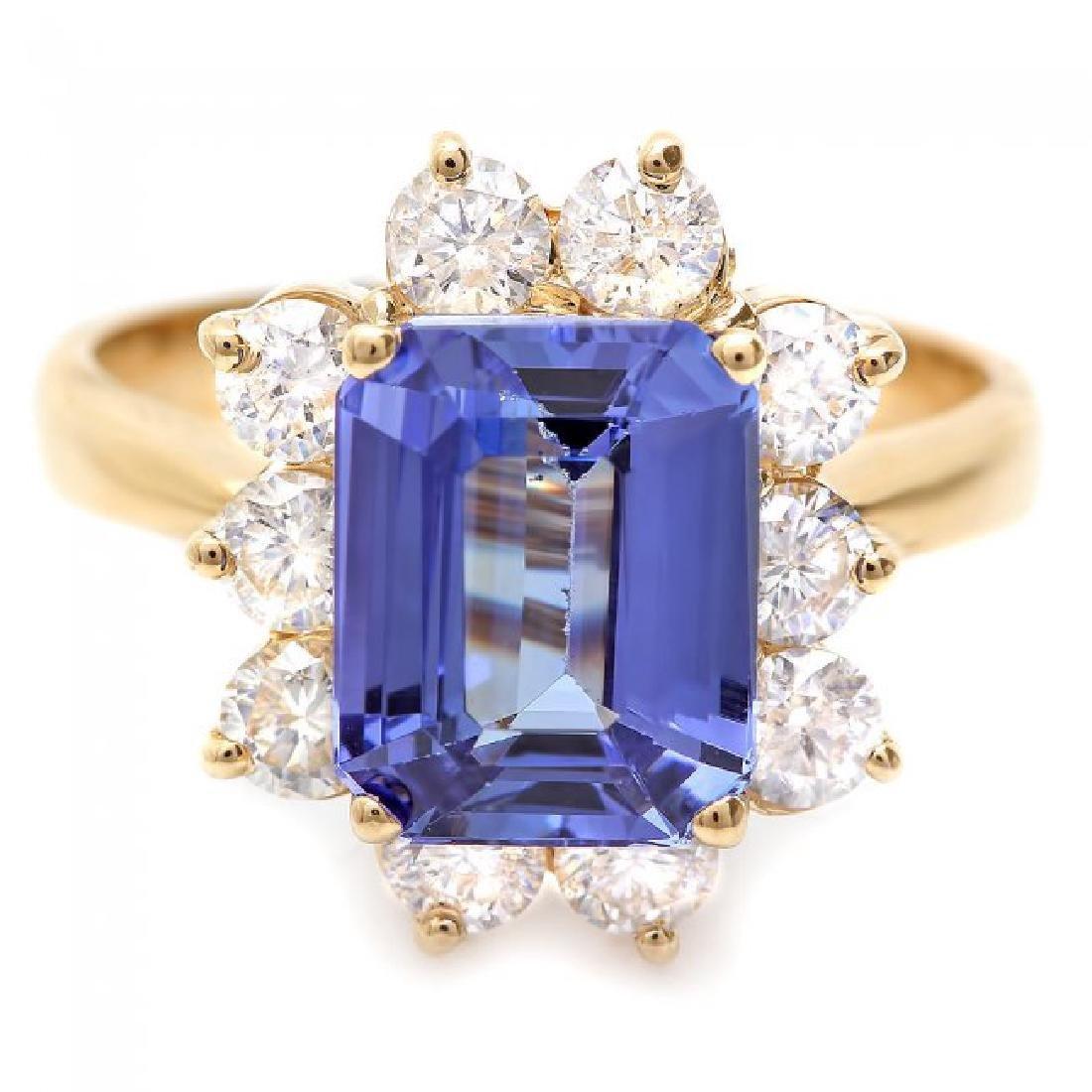14k Gold 3.00ct Tanzanite 1.20ct Diamond Ring - 2