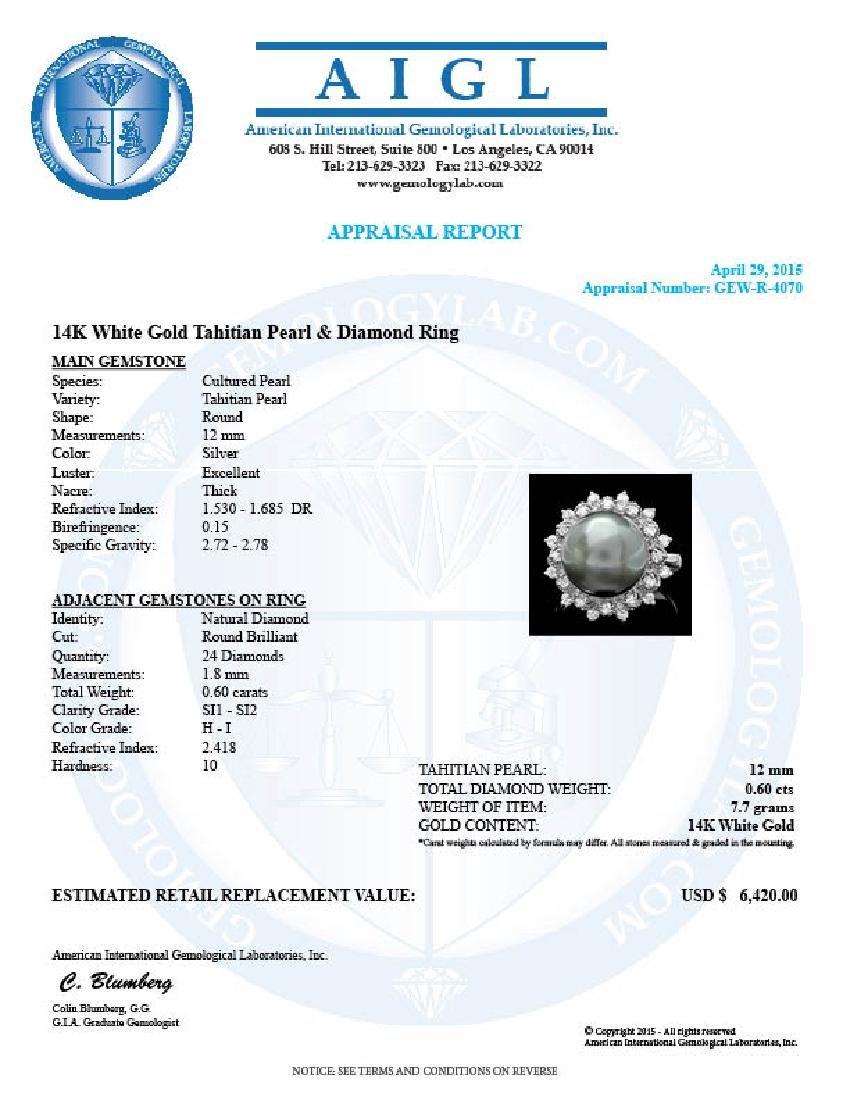 14k White Gold 12.5mm Pearl 0.60ct Diamond Ring - 4