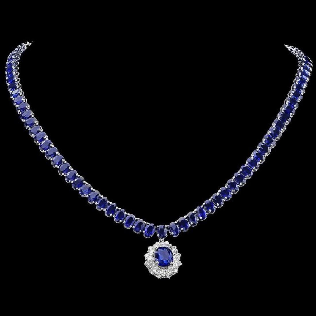 14k Gold 51.5ct Sapphire 1.55ct Diamond Necklace