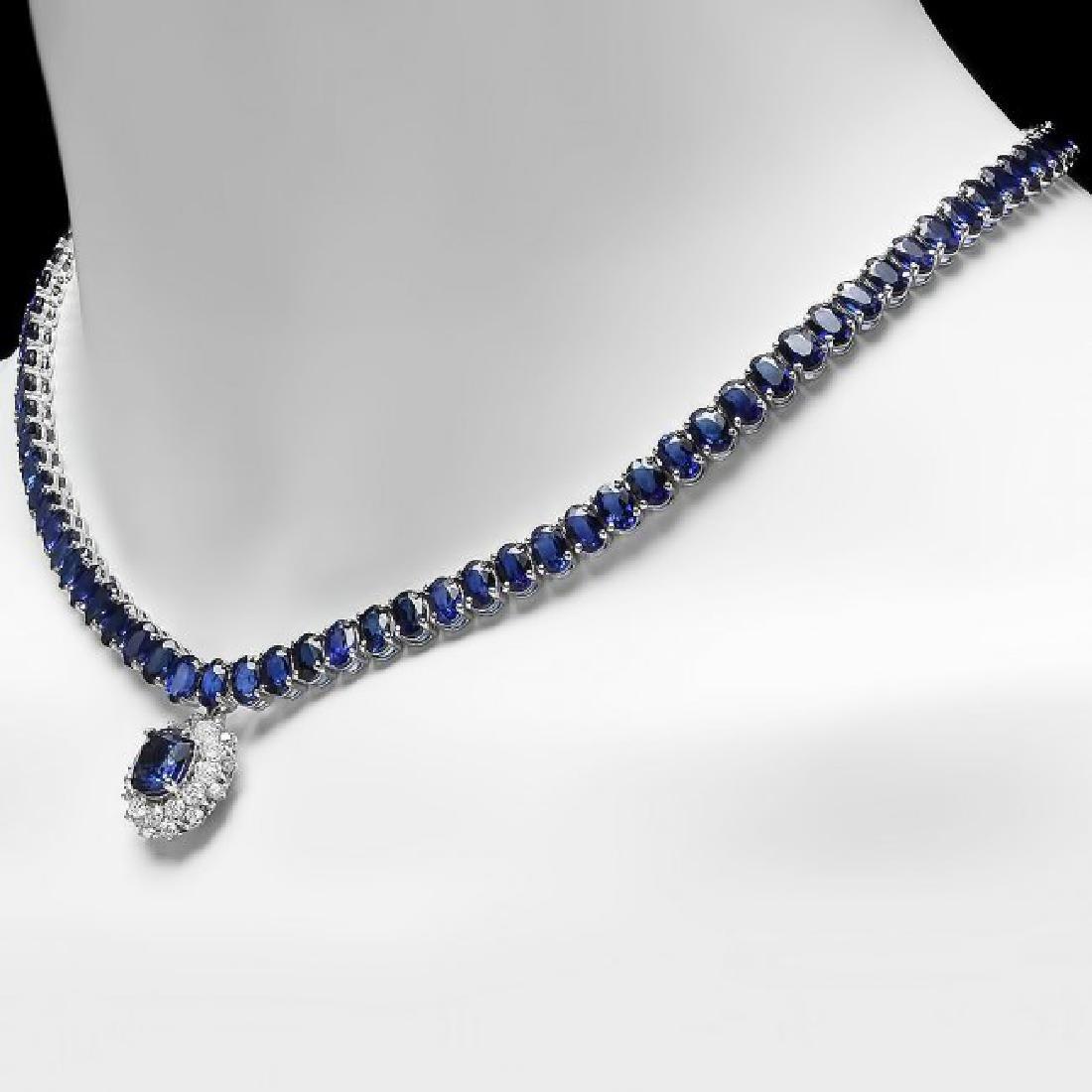 14k Gold 51.5ct Sapphire 1.55ct Diamond Necklace - 5