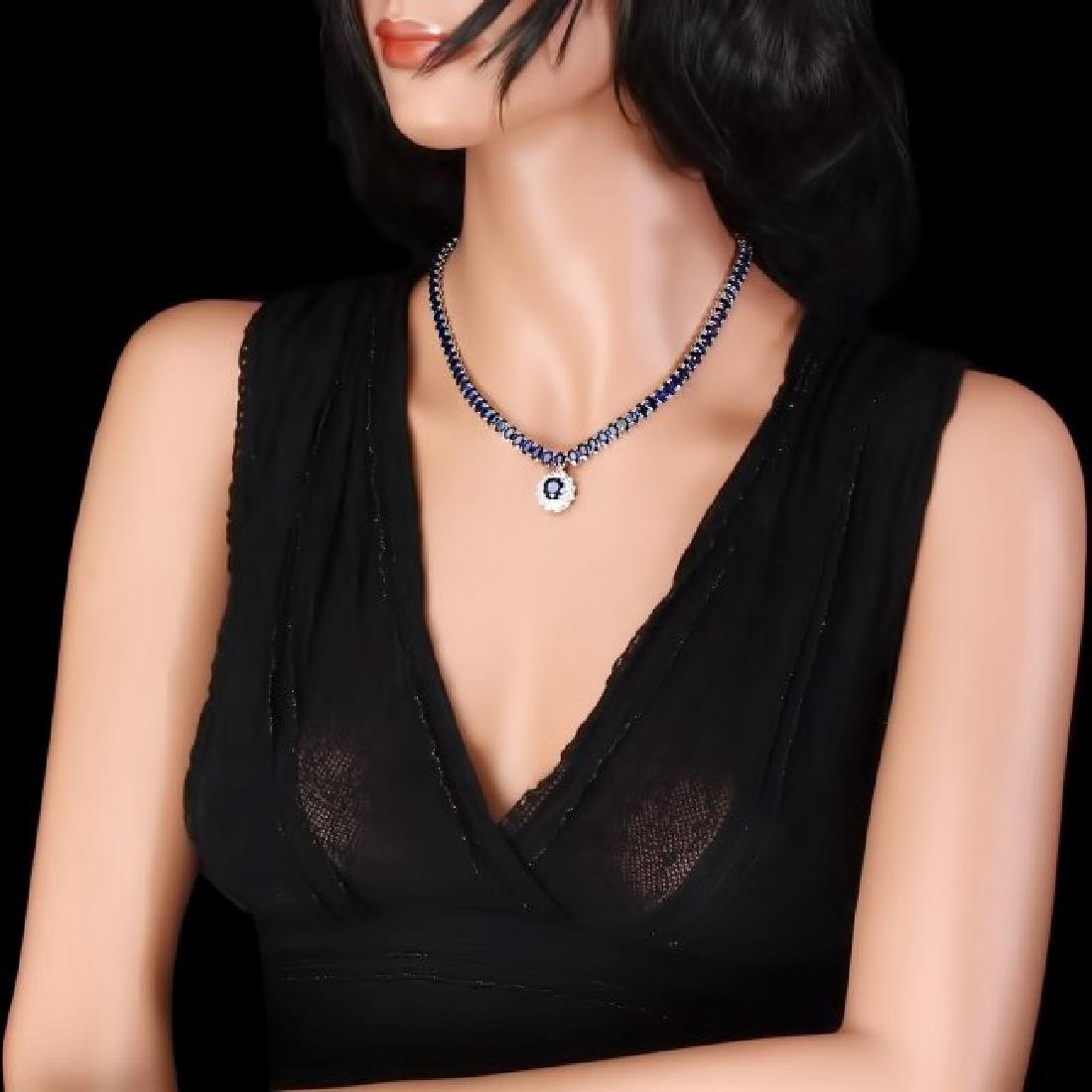 14k Gold 51.5ct Sapphire 1.55ct Diamond Necklace - 6