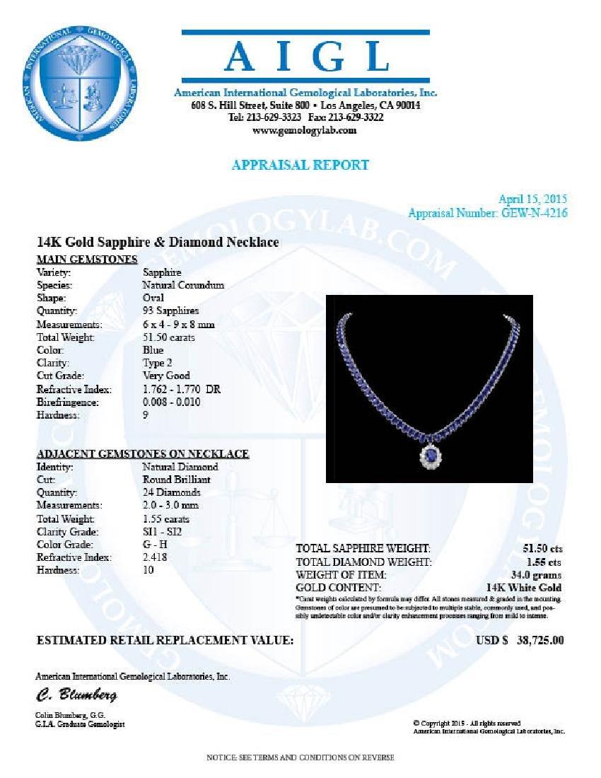 14k Gold 51.5ct Sapphire 1.55ct Diamond Necklace - 7