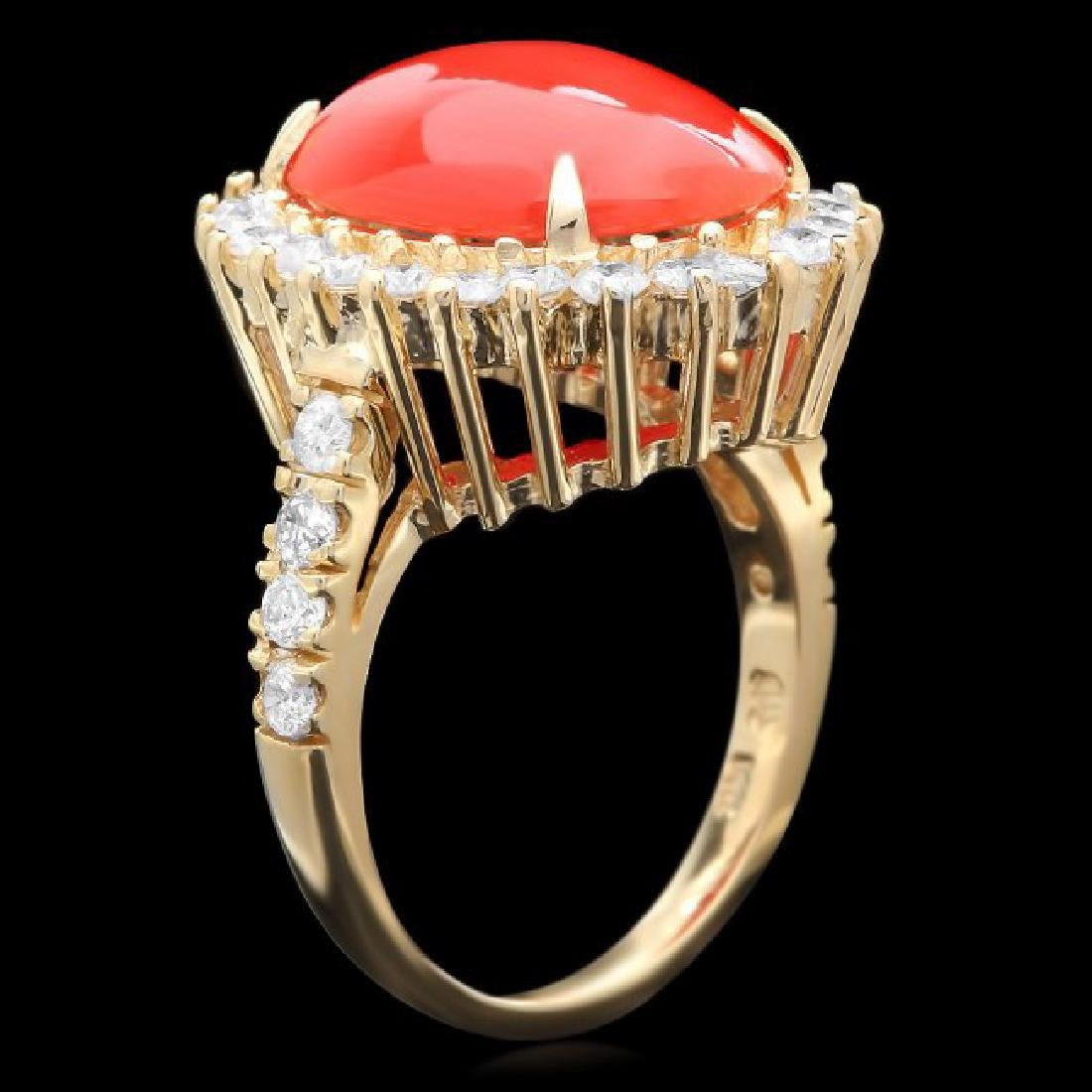 14k Yellow Gold 5.00ct Coral 1.35ct Diamond Ring - 2