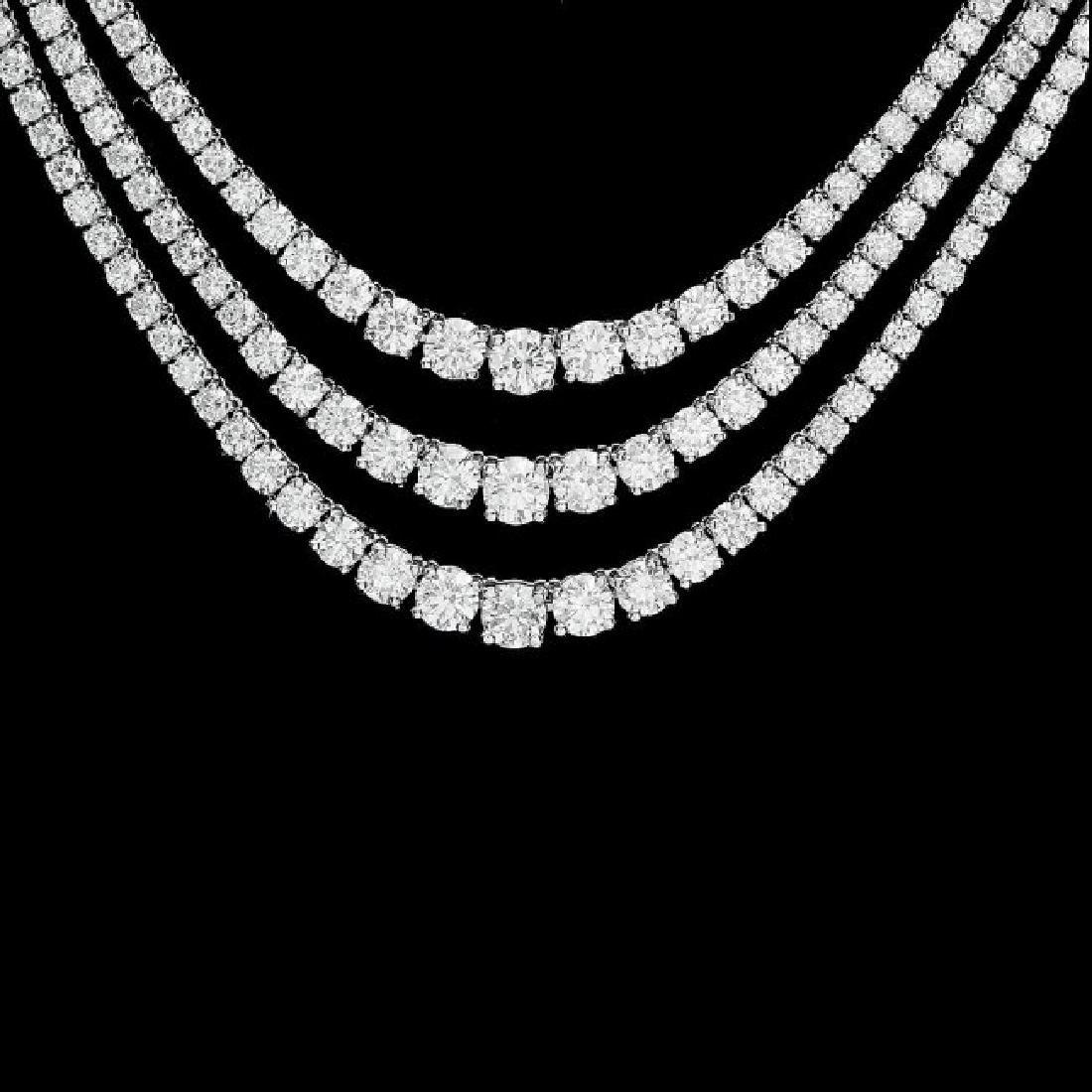 18k White Gold 12.90ct Diamond Necklace - 2