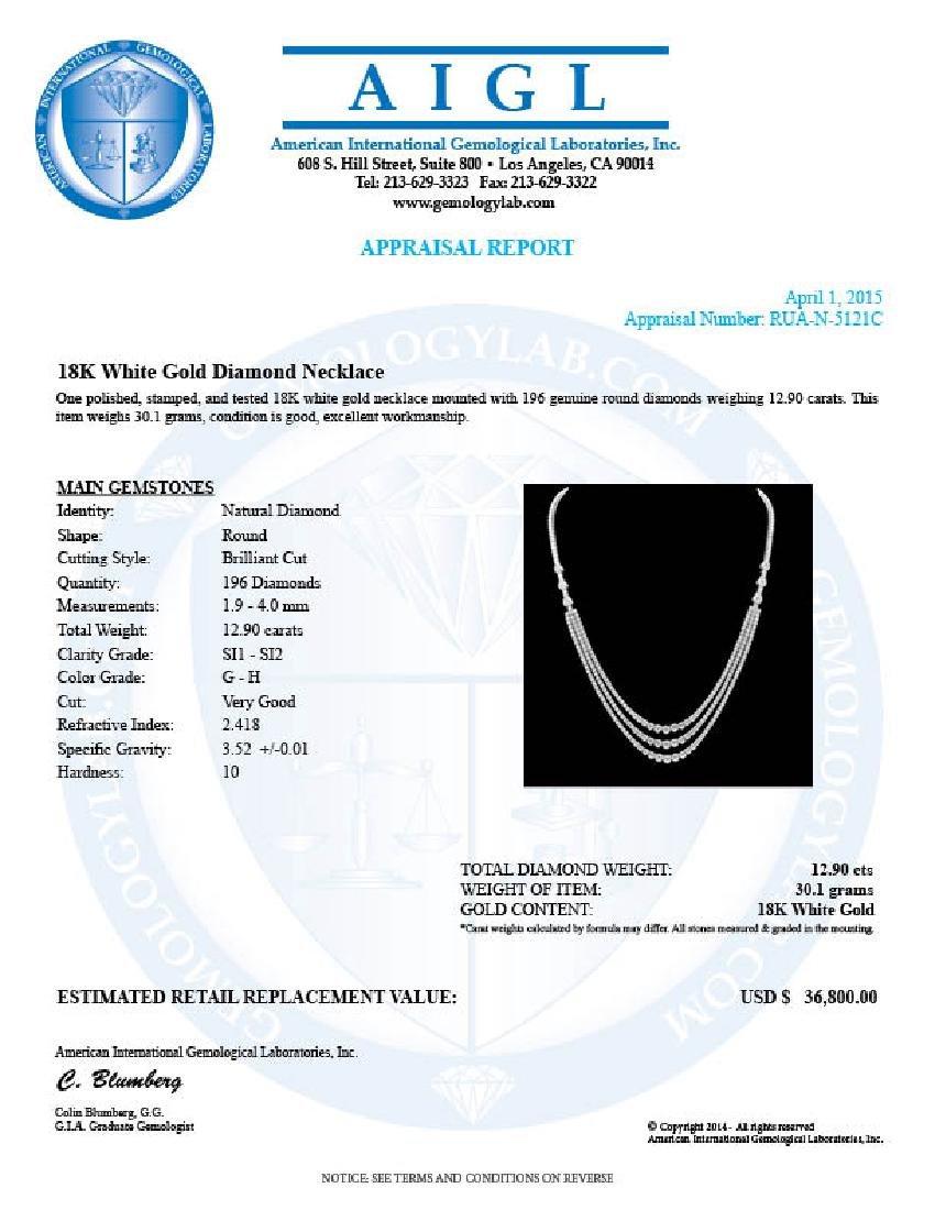 18k White Gold 12.90ct Diamond Necklace - 5