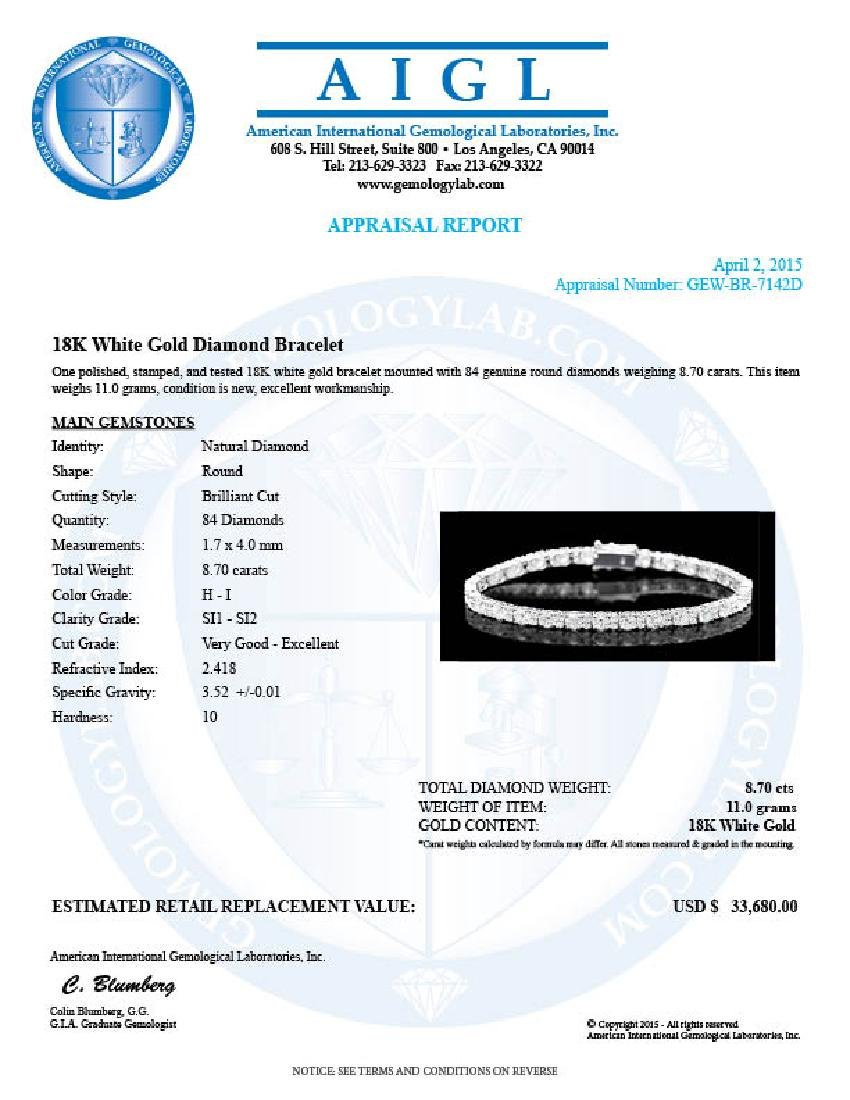 18k White Gold 8.70ct Diamond Bracelet - 6
