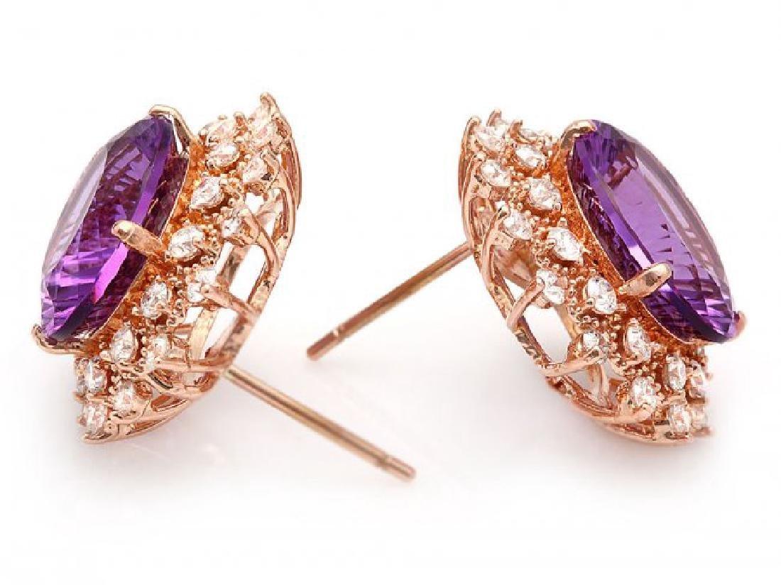14k Rose 10ct Amethyst 1.70ct Diamond Earrings - 2