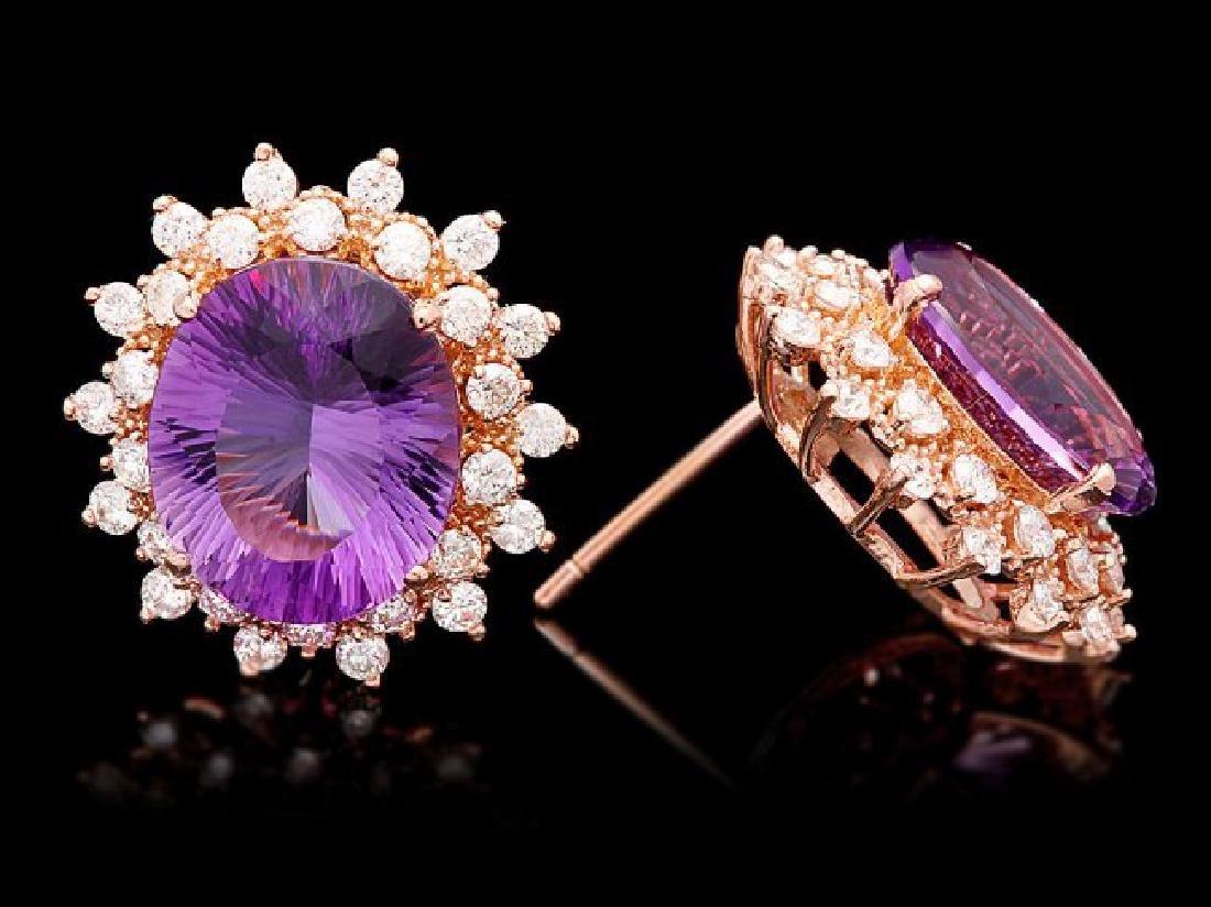 14k Rose 10ct Amethyst 1.70ct Diamond Earrings - 3