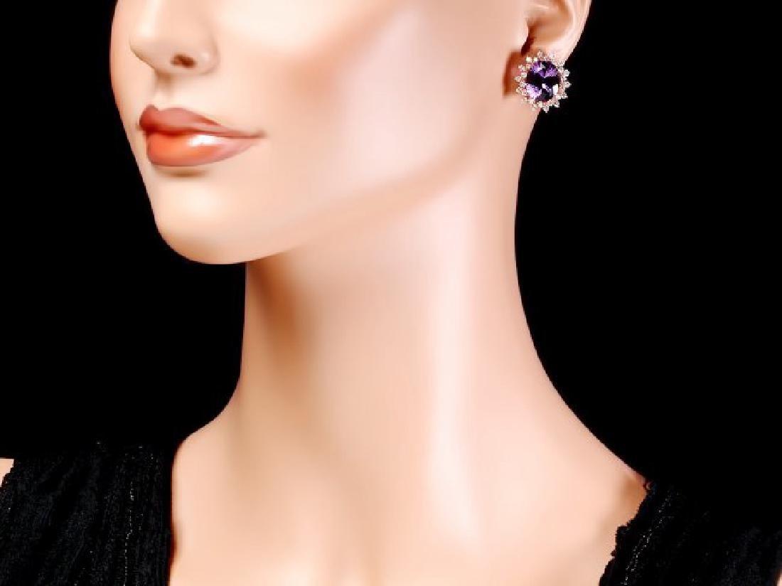 14k Rose 10ct Amethyst 1.70ct Diamond Earrings - 4